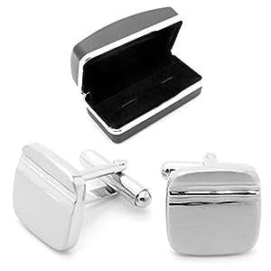 1 Paar Silberne Manschettenknöpfe + Geschenkbox Cufflinks Manschetten Hemd Krawatte Anzug Hochzeit Business Etui Herren