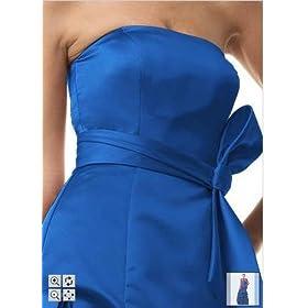 David's Bridal Strapless Satin Ball Gown with Pick-up Detailing & Sash -Blue Velvet-