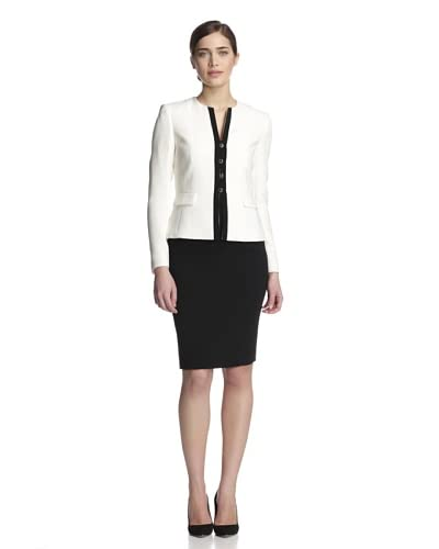 Tahari by ASL Women's Two-Piece Skirt Suit  [Cloud White/Black]