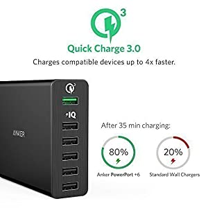 [Quick Charge 3.0] Anker 60W 6-Port USB Charger (Quick Charge 2.0 Compatible) PowerPort+ 6 with PowerIQ for iPhone, iPad, Galaxy, Nexus and More