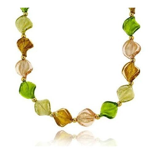 Fall Season Green, Brown, Champagne, and Rose Glass Twisted Foil Bead Vermeil (24k Gold over Sterling Silver) Round Beaded Glitter Leaf Necklace