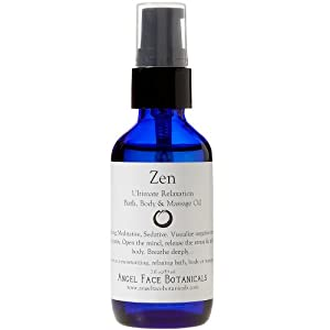 Zen Organic Bath, Body and Massage Oil for Ultimate Relaxation and Stress Relief 2 oz from Angel Face Botanicals