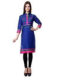 Navriti Blue Embroidered Kurta - B00WMHGG3O
