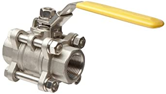Merit Brass Stainless Steel 316 Ball Valve, Three Piece, Full Port, Lever, NPT Female