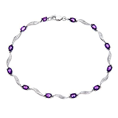 Ariel 9ct White Gold Amethyst and Diamond Wave Link Bracelet