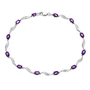 Ariel 9ct White Gold Amethyst and Diamond Wave Link Bracelet