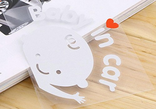 1 Pcs Ideal Popular Baby In Car Sticker Sign Vinyl on Board Auto Waving Decal Window Logo Boy Style Color White