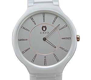Popular & Fashion Big Dial Ceramic Quartz Watch Water Resistant with Rhinestone Unisex Watches
