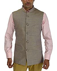 Panache Linen Men's Nehru Jacket (Golden,36)