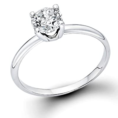 0.40 ct. Round Diamond Solitaire Engagement Ring in 18k White Gold
