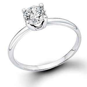 Klassischer 18 Karat (750) Weißgold Solitär Verlobung Diamant Damenring Brilliantschliff 0.50 Karat
