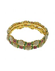 Pearl, Emerald & Ruby Stone Studded Pair Of Bangles Made In Silver Alloyed Metal