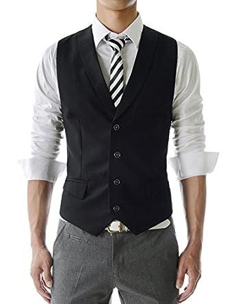 (TJEV15) Stylish Slim Fit Vest Unique Shawl Collar 4 Button Sensual Waistcoat BLACK Medium(US Small)