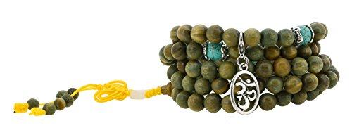 Tibetan 8mm Green Sandalwood Scented 108 Prayer Beads, Tibetan Mala Wrap Bracelet (Om Mantra)