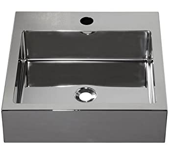 Barclay Products 7-352SP Madison Square Stainless Steel Above Counter Basin with 1-Hole, Polished Stainless