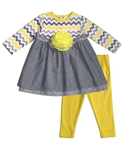 Peaches N Cream Molly & Millie Little Girls' Yellow Grey Chevron Leggings Outfit, 2T