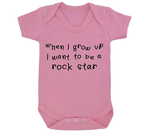 When I Grow Up I Want To Be A Rock Star Baby-Tutina per neonato, colore: rosa/nero rosa 6-12 mesi