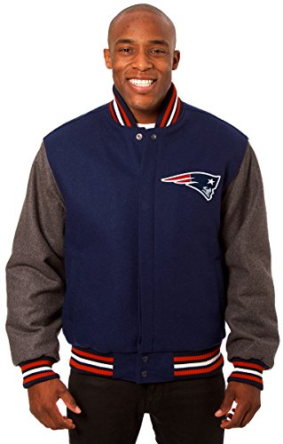 New England Patriots Men's Wool Jacket with Hand Crafted Leather Team Logos (Large)