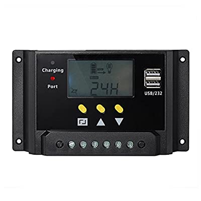 VicTec Intelligent LCD 20A\30A 12V/24V 240W/480W 360W/720W PWM Solar Panel Regulator Adapter Charge Controller For Street Lamp Base Station Solar Panel System Environment Monitor Battery Charging Wifi Hotspot Etc