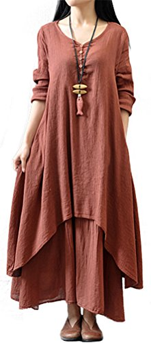 Eleganlife Women's Long Sleeve Fake 2PCS Chinese Style Cotton Linen Long Dress