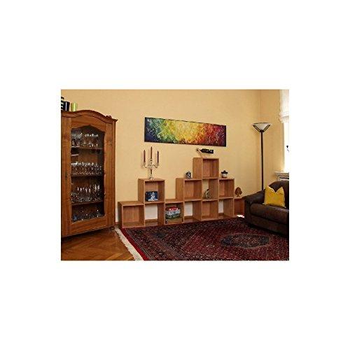 Gerumiges-Wohnzimmerregal-Regalwand-Raumteiler-Wandregal-Regalwrfel-Wrfelregal-aus-Massivholz-Buche-gelt