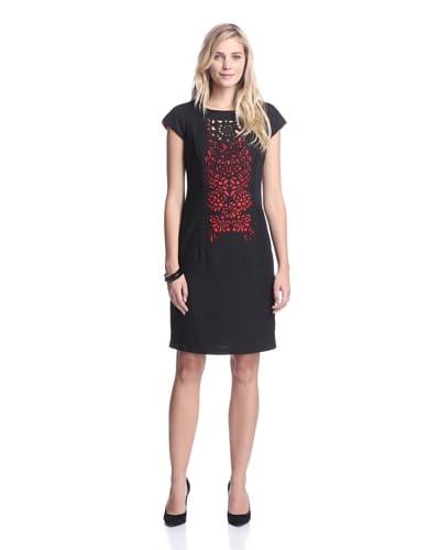 Nue by Shani Women's Laser Cut Crepe Dress  [Black/Red]