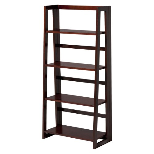 Dolce Dark Walnut Folding Bookcase Collapsible Ladder