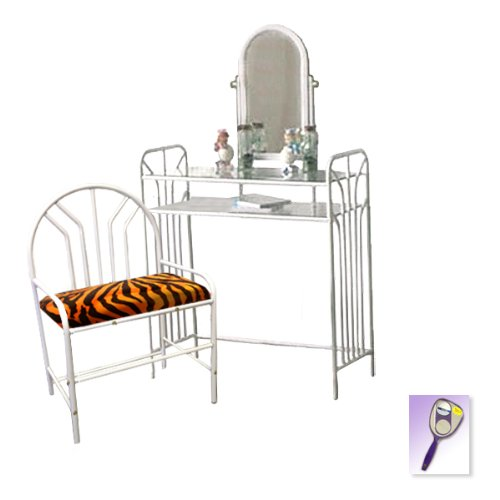 New White Metal Finish Make Up Vanity Table With Mirror & Orange Zebra Faux Furthemed Bench front-1027365