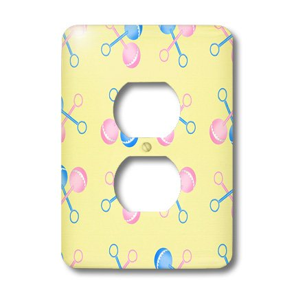 Lsp_165755_6 777Images Patterns For Kids - Pink And Blue Baby Rattles On A Yellow Background - Light Switch Covers - 2 Plug Outlet Cover front-232893