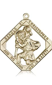 Free Engraving Included Medal-14k Gold St. Saint Christopher Medal 1 3/4 x 1 1/2 Mens Large 5628KT w/o Chain w/Box Patron Saint of Travelers/Motorists