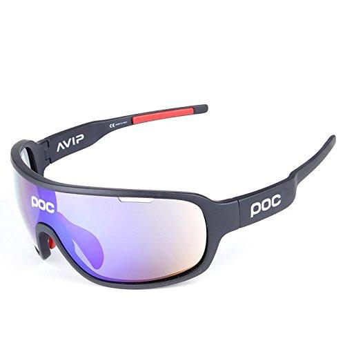 COOLLINE All'aperto equitazione mezza montatura polarizzata occhiali/occhiali da sole sportivi, Go vento e sabbia radiazioni occhiali/compatto, leggero, indossare sensazione di comfort senza peso , black