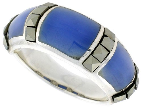 Sterling Silver Oxidized Dome Ring w/ Blue Resin, 5/16