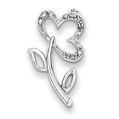 Sterling Silver And Diamond Flower Pendant Slide