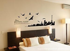 ufengke® Città Silhouette Paesaggio Urbano di Parigi e Flying Birds Adesivi Murali, Camera da ...