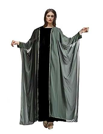 Gray Floor Length Topper Chiffon Kimono Cardigan Coat Cape