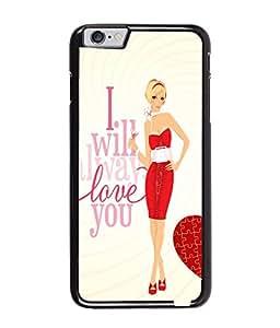 Fuson Red Dress Girl Back Case Cover for APPLE IPHONE 6 - D4047