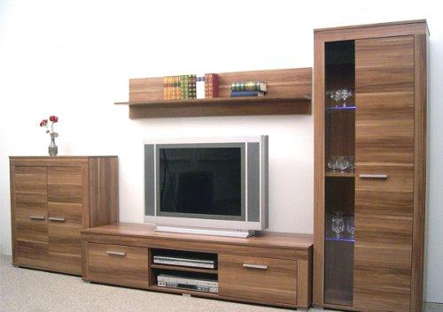 8-8-7-1509-made-in-BRD-schne-Anbauwand-K-nuss-dekor-Wohnzimmerschrank-TV-Wohnwand-Wohnschrank