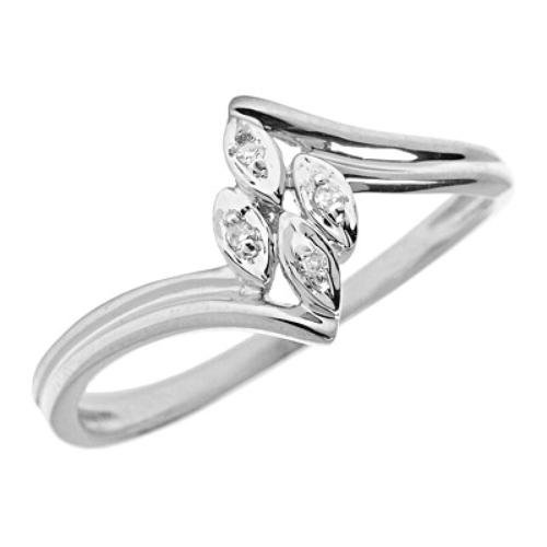 10K White Gold Diamond Cluster Bypass Promise Ring