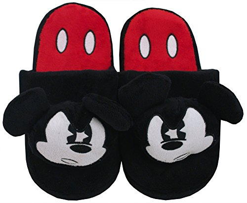 Disney Mean Mickey Mouse Plush Big Face Slippers Mens Black Cartoon Adult