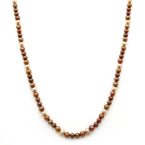 6-7mm Multicolor Autumn Fall Color Freshwater Pearl Necklace in Sterling Silver in Gift Box