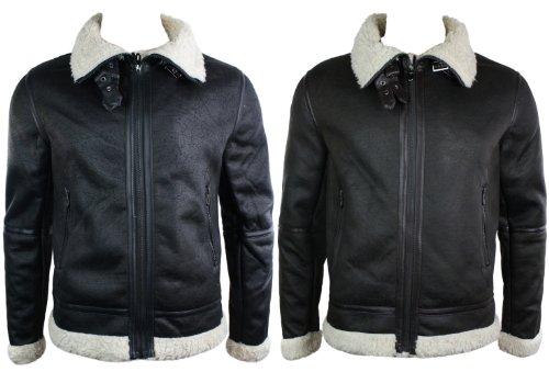 Mens Faux Sheepskin Flying Jacket Winter Warm Fleece Lined Black Brown Zipped