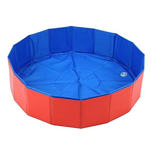 NEWSTYLE Dog Bathing Tub - Foldable Small Pet Dog Cat Swimming Pool Bathtub Washer - 32inch.D x 8inch.H (Pet Tubs For Small Dogs compare prices)