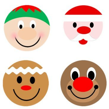 Christmas Holiday Faces Edible Cupcake Toppers Decoration