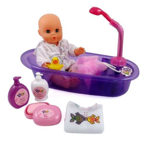 doll little baby bath bathtub love gift set boy girl 13 inch liberty imports new ebay. Black Bedroom Furniture Sets. Home Design Ideas