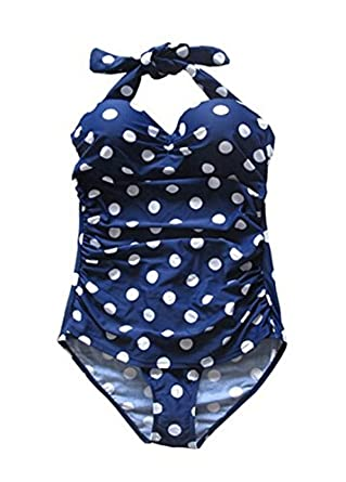 Retro Vintage Navy Blue White Polka Print One Piece Swimwear Monokinis (M)