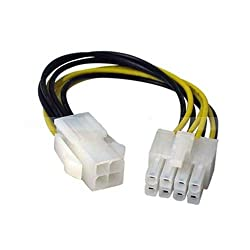 CNCT SMPS 4 PIN TO 8 PIN CONVERTER IN 0.20M - 8 pin male to 4 pin female - suitable for converting 12V - 4pin cable of Power Supply to 12V - 8 pin - for use with Power Supply from Cooler Master - Antec - Corsair - Thermaltek - NZXT