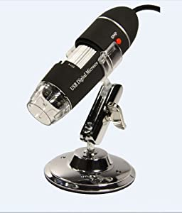 GSI High-Definition Scientific Digital LED Microscope, USB Video Connection to Computers/Laptops/Notebooks, Magnifies All Microscopic Articles 400x, Special Image Treatment, Includes Stand for Handsfree Use, for Hobby/Science/Education/Industrial- Black