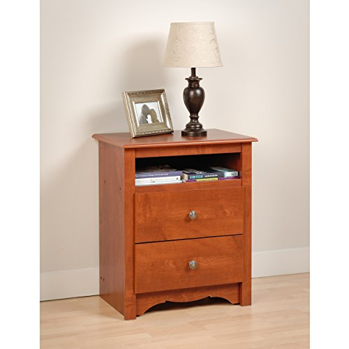 Cherry monterey tall 2 drawer nightstand with open shelf for How to make a nightstand higher