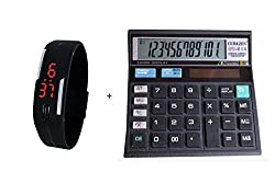 Combo of - Black LED Unisex Silicone Rubber Digital Watch & Calculator (CT-512)