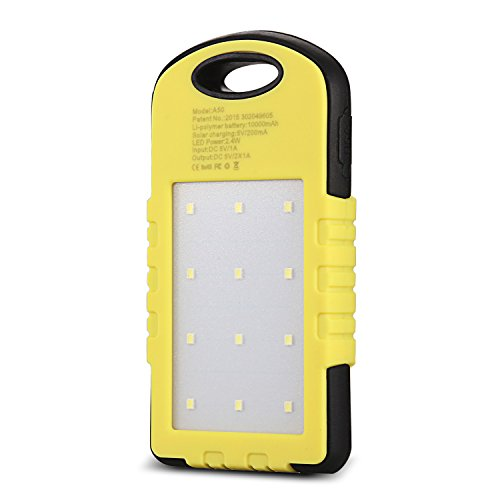 CYSPSZ Solar Charger Rain-resistant Dirt/Shockproof, Solar External Battery Pack, Dual USB Port 10000mAh Portable Solar Power Bank With LED Lights. (yellow)
